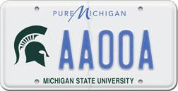 State Of Michigan Msu License Plate Information